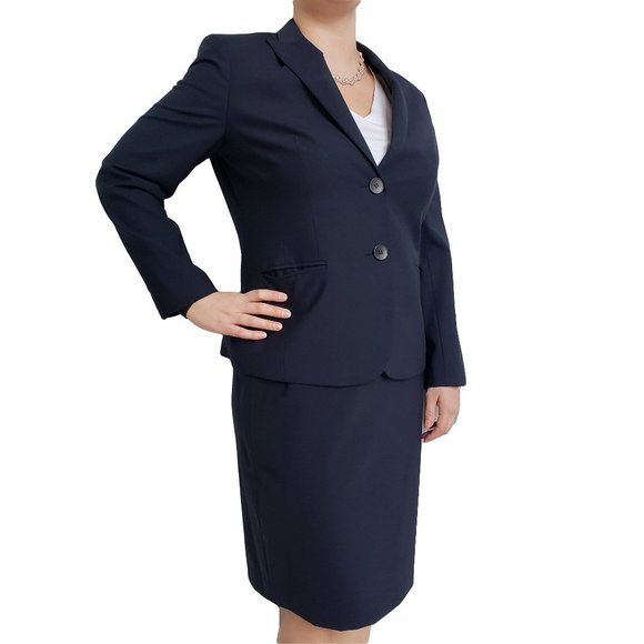 JONES NEW YORK Navy Career Skirt Blazer Suit 14